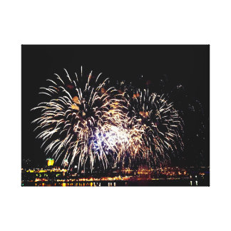 Fireworks And Quebec City Canvas Print