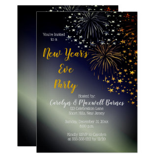 Fireworks and Stars Night Sky New Year's Eve Party Card