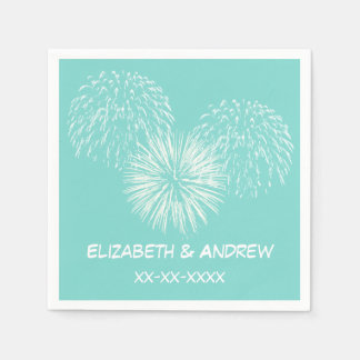 Fireworks Aqua Robin Egg Background, Name Monogram Paper Serviettes