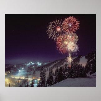 Fireworks at Big Mountain Resort in Whitefish, Poster