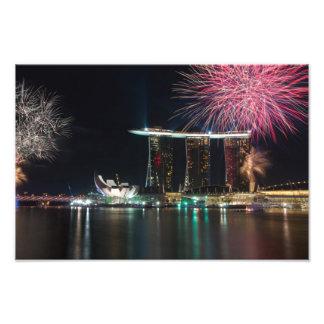 Fireworks at Marina Bay Photograph