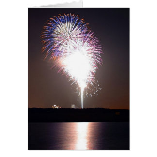 Fireworks At Night Over River Greeting Card