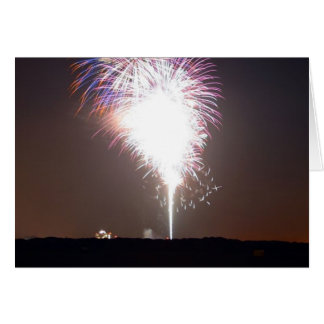 Fireworks At Night Over River Cards