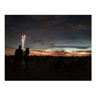 Fireworks at Sunset - Postcard