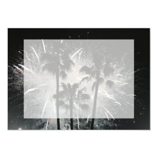 Fireworks behind palm  trees card