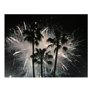Fireworks behind palm  trees postcard