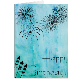 Fireworks Birthday Card - Fourth of July