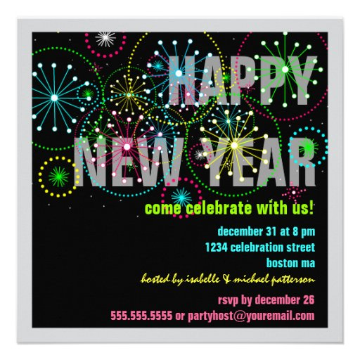 Fireworks Celebration for New Years Eve Party Invites