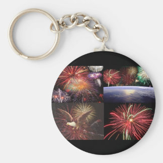 Fireworks Collection Basic Round Button Key Ring