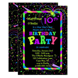 Fireworks Confetti New Year's 10th Birthday Party 13 Cm X 18 Cm Invitation Card