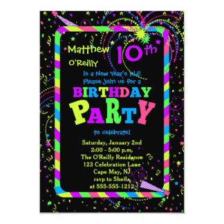 Fireworks Confetti New Year's 10th Birthday Party 13 Cm X 18 Cm Invitation Card