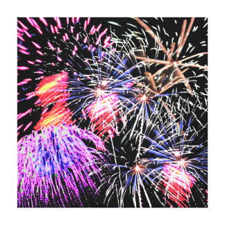 Fireworks Display Stretched Canvas Print