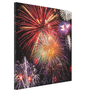 Fireworks Finale Stretched Canvas Print