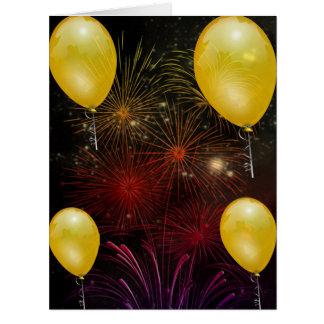 Fireworks Fire Sky Night Peace Love Party Art Card