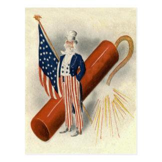 Fireworks Firecracker Uncle Sam US Flag Postcard