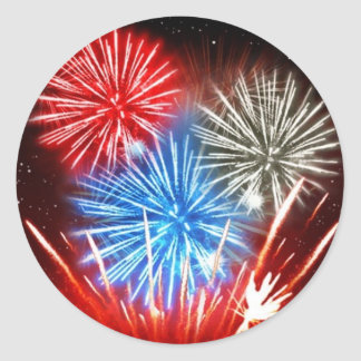 Fireworks freedom isn't free classic round sticker