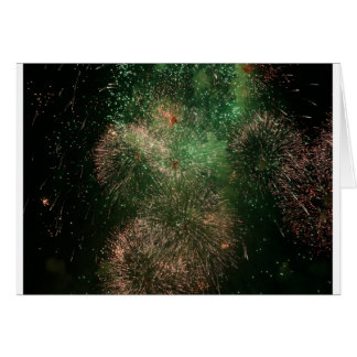 fireworks green explosion splash greeting card