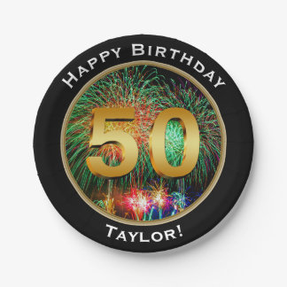 Fireworks Happy Fiftieth 50th Birthday with Name Paper Plate