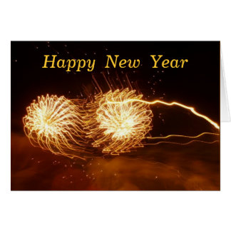 FIREWORKS, Happy  New  Year Greeting Card