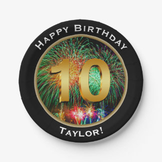 Fireworks Happy Tenth 10th Birthday with Name 7 Inch Paper Plate
