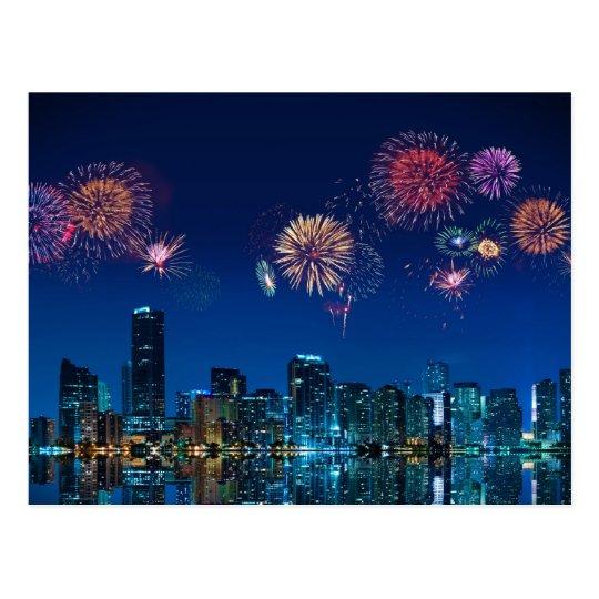 Fireworks in Miami - Postcard