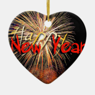 Fireworks in Red - Happy New Year 2016 Ceramic Heart Decoration
