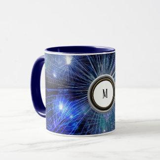 fireworks light festival blue fashion mug