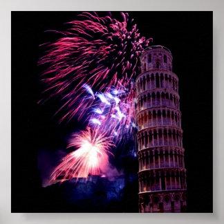 Fireworks lightingTower of Pisa Poster
