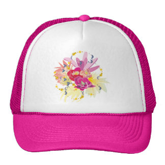Fireworks of tropical flowers mesh hat