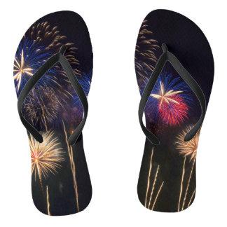Fireworks on flip flops