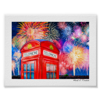 Fireworks Over A British Phone Booth - Mini Posters
