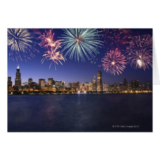 Fireworks over Chicago skyline 2 Greeting Card