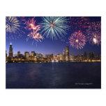 Fireworks over Chicago skyline 2 Postcard