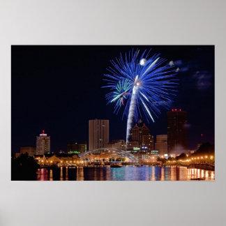 Fireworks Over Rochester Poster