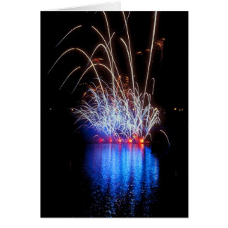 Fireworks Over the Lake Greeting Card