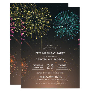 Fireworks Party   Modern Typography Birthday Party Card