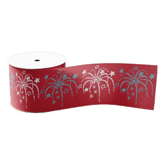 Fireworks Patriotic Ribbon Grosgrain Ribbon