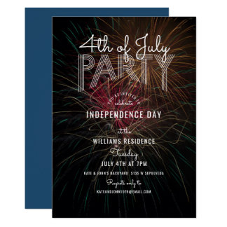 Fireworks Photo Outdoor Barbecue 4th of July Party Card