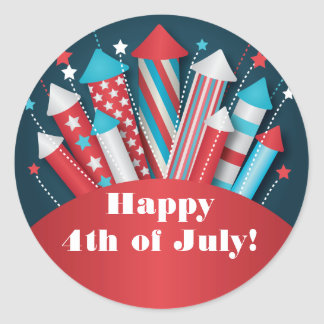 Fireworks Rockets 4th of July Party Stickers
