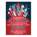 Fireworks Rockets 4th of July Postcard