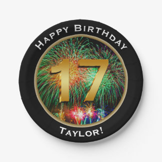 Fireworks Seventeenth 17th Birthday with Name 7 Inch Paper Plate