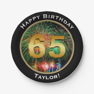 Fireworks Sixty-Fifth 65th Birthday with Name Paper Plate
