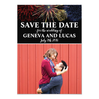 Fireworks Sky Fourth of July Wedding Save The Date Card