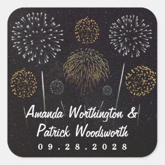 Fireworks Themed Black Gold Silver Wedding Favor Square Sticker