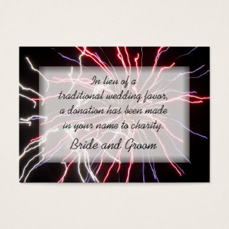 Fireworks Wedding Charity Favor Card
