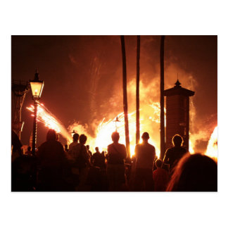 fireworks with people building trees shadow postcards