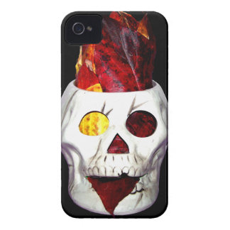Firey Autumn Leaf Skull iPhone 4 Cases