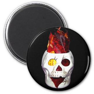 Firey Autumn Leaf Skull Fridge Magnet
