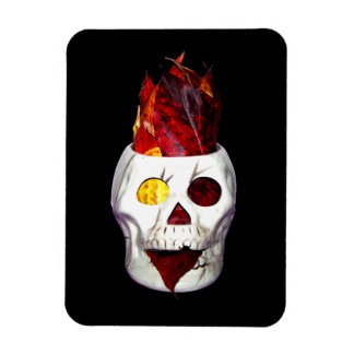 Firey Autumn Leaf Skull Rectangular Photo Magnet