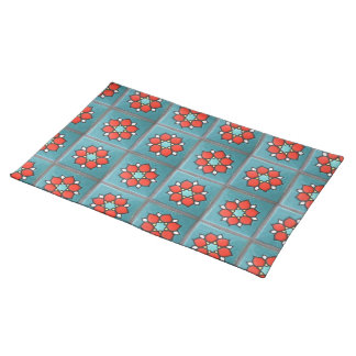 Firey Orange Flowers on Teal Placemat